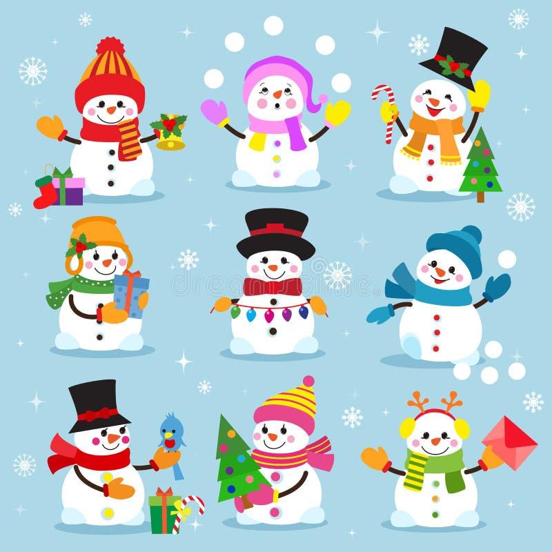 Os meninos e as meninas alegres da neve do xmas do feriado do caráter do Natal do inverno dos desenhos animados do boneco de neve ilustração stock
