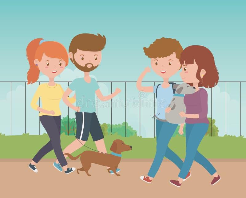 Os meninos e as meninas com cães projetam ilustração stock