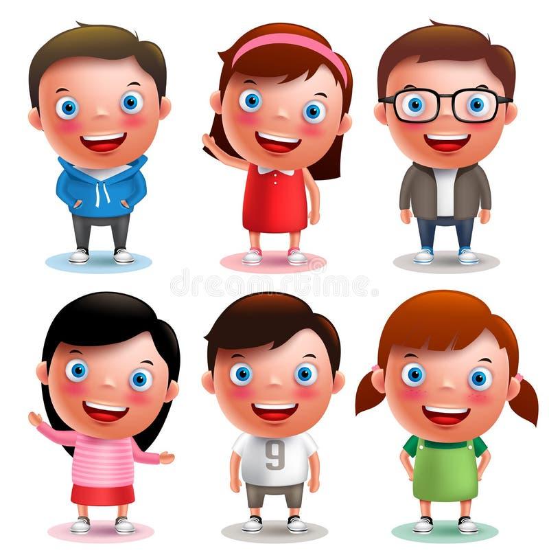 Os meninos e as meninas dos caráteres do vetor das crianças ajustaram-se com sorriso feliz e os equipamentos diferentes ilustração royalty free