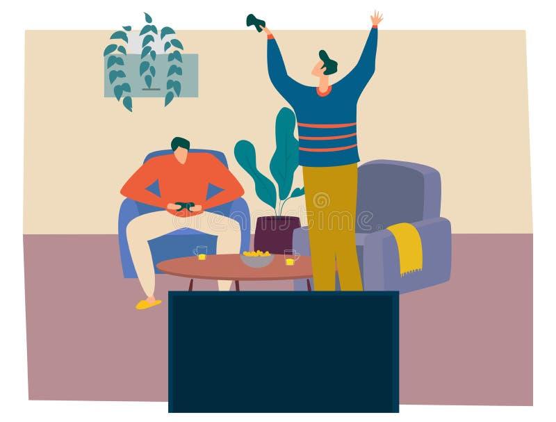 Os meninos estão jogando jogos de vídeo em casa, tendo alguns petiscos e bebidas junto O Gamer está feliz e comemora a vitória ilustração stock