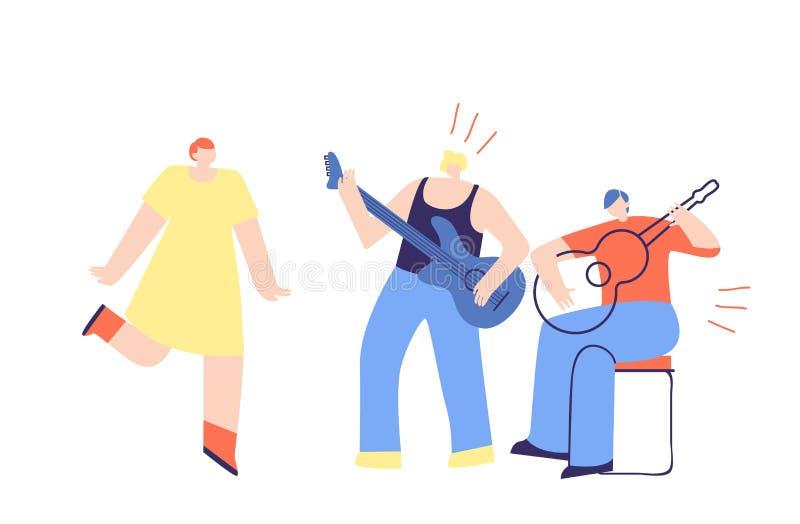 Os meninos unem o jogo do vetor liso dos povos da música da guitarra ilustração stock