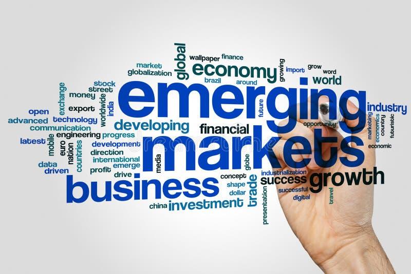 Os mercados emergentes exprimem o conceito da nuvem no fundo cinzento foto de stock