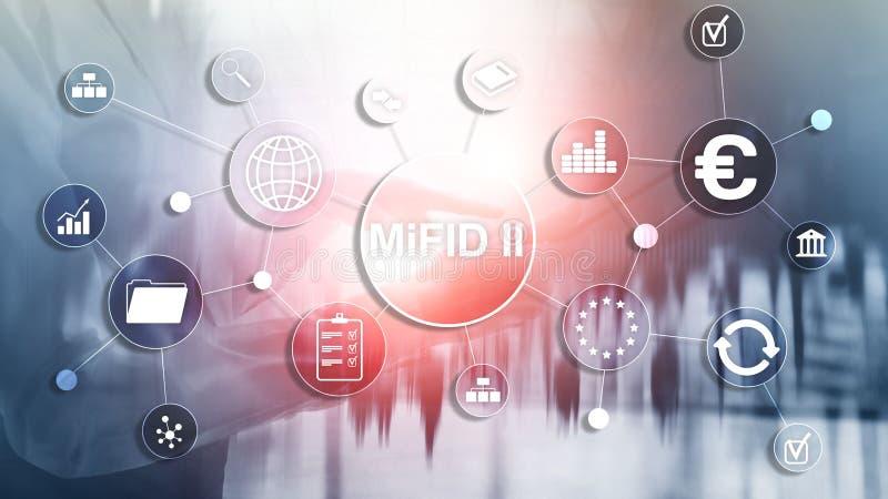 Os mercados na diretriz orientadora dos instrumentos financeiros MiFID II Conceito da prote??o do acionista fotografia de stock