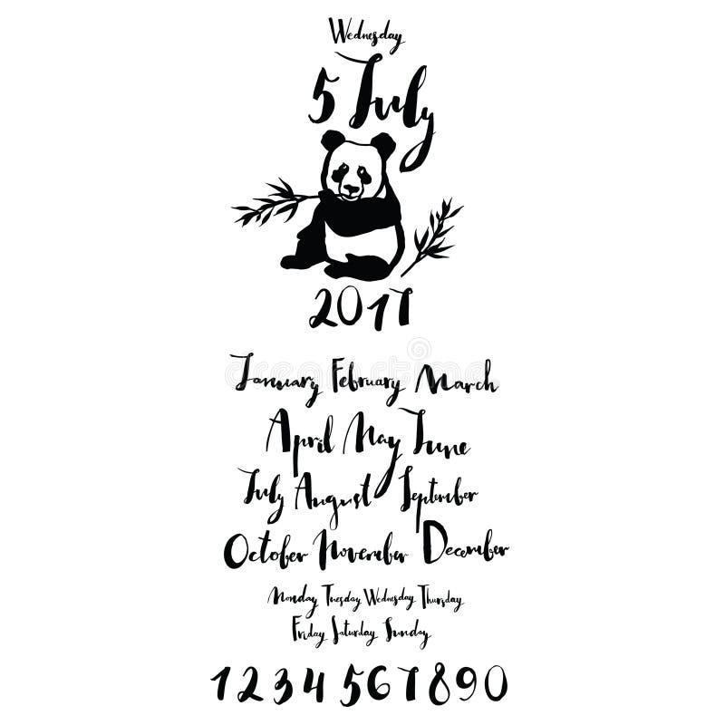 Os meses da fonte da panda de dias do ano da semana numeram ilustração stock
