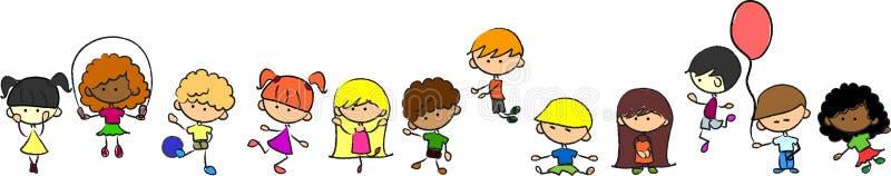 Os miúdos bonitos felizes jogam, dançam, saltam, ilustração royalty free
