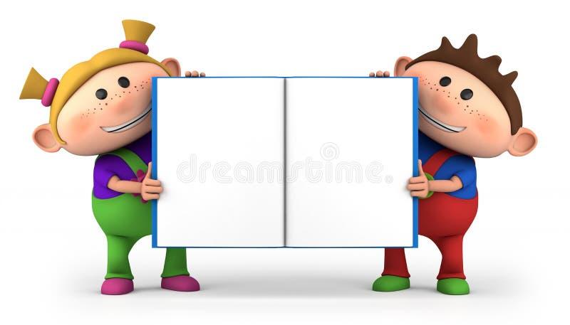 Os miúdos com espaço em branco abrem o livro ilustração stock
