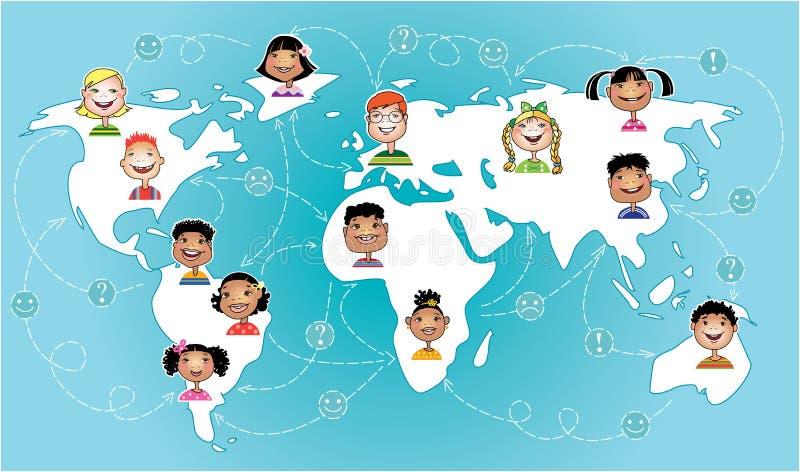 Os miúdos conectaram no mundo inteiro ilustração stock
