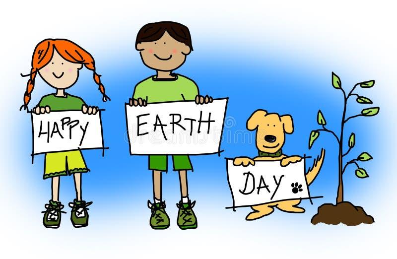 Os miúdos e o cão que prendem o dia de terra feliz assinam ilustração stock