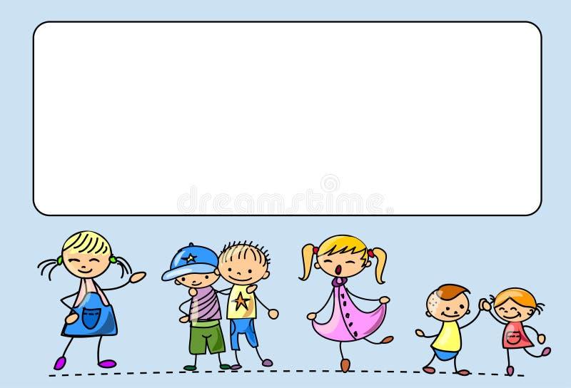 Os miúdos felizes dançam, cantam, saltam, funcionam, vector ilustração do vetor