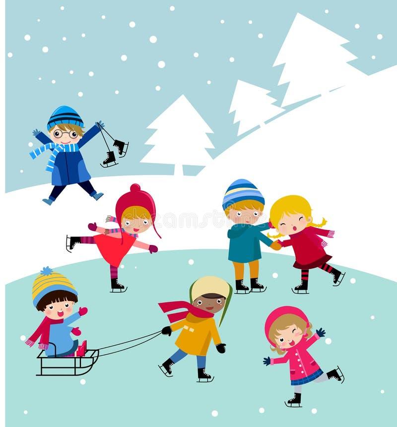 Os miúdos juntam-se à neve ilustração do vetor