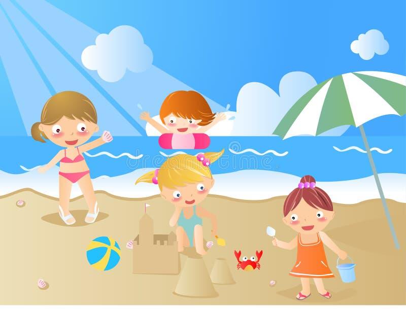 Os miúdos são verão ilustração royalty free