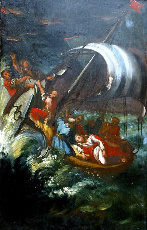 Os milagre atribuíram a Jesus, Jesus Calms uma tempestade no mar ilustração stock