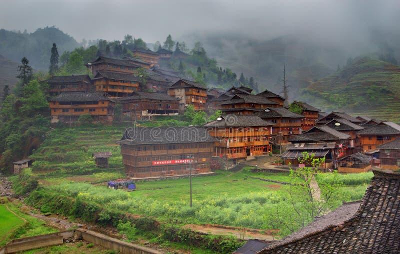 Os minoritys de Yao dirigem, Dazhai, perto de Longsheng, Guangxi, China. GUA imagens de stock