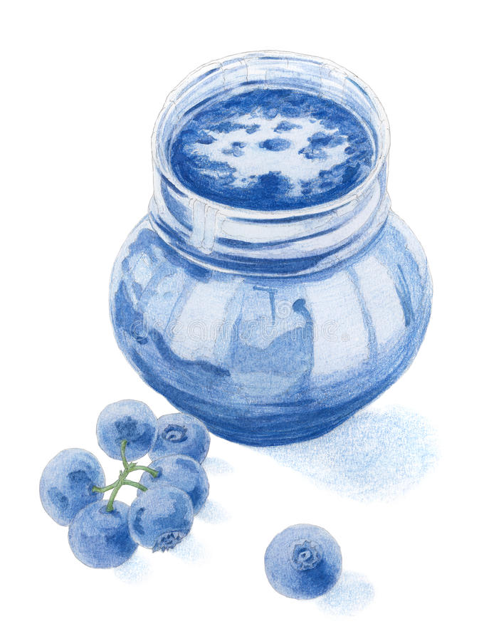 Os mirtilos e o frasco encheram-se pelo doce do mirtilo sobre o backgroun branco ilustração do vetor