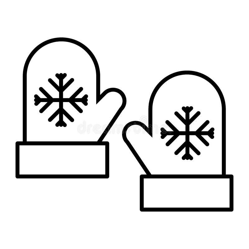 Os mitenes diluem a linha ícone Ilustração do vetor das luvas isolada no branco Projeto do estilo do esboço da roupa do inverno,  ilustração stock