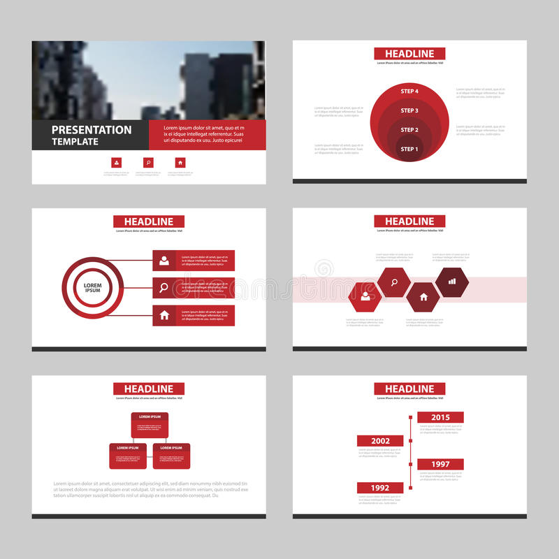 Os moldes abstratos pretos vermelhos da apresentação, projeto liso do molde dos elementos de Infographic ajustaram-se para o folh ilustração royalty free