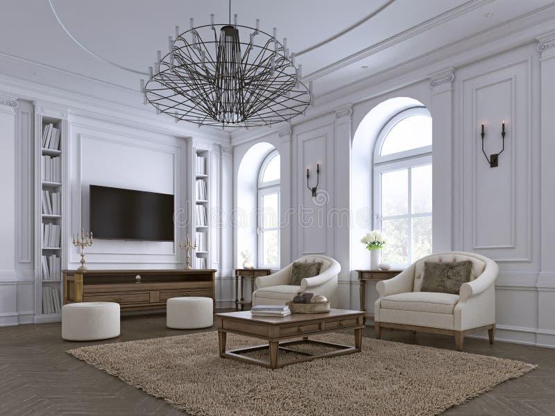 Os moldes clássicos da sala de visitas, almofadar e do teto sobre um assoalho de folhosa de desenhos em espinha forneceram com os ilustração royalty free