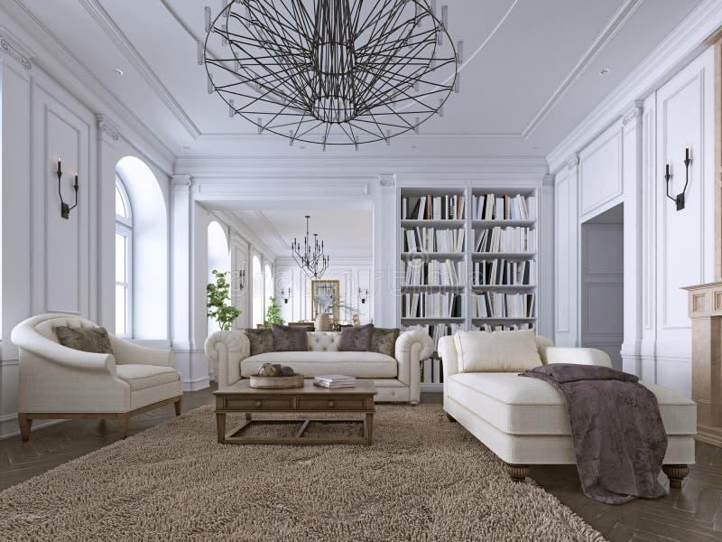 Os moldes clássicos da sala de visitas, almofadar e do teto sobre um assoalho de folhosa de desenhos em espinha forneceram com os ilustração do vetor