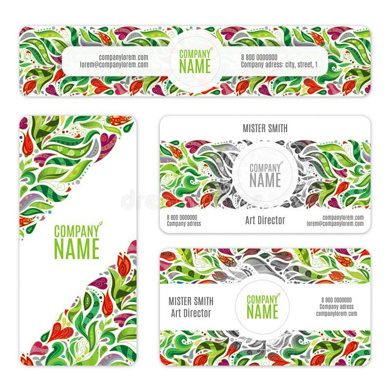 Os moldes da identidade corporativa ajustados com flores e folhas no zentangle rabiscam o estilo ilustração stock