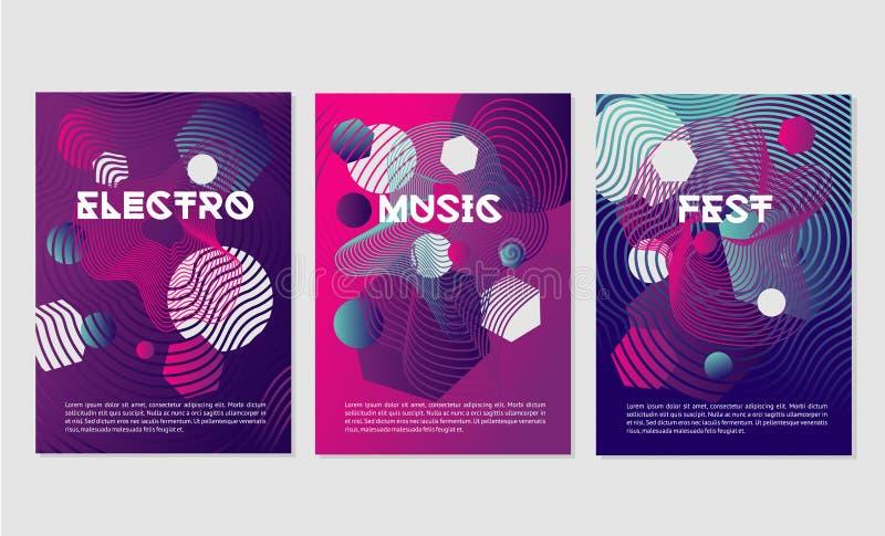Os moldes do convite para o clube noturno party com formas dinâmicas Festival de música da dança com linha lisa geométrica abstra ilustração stock
