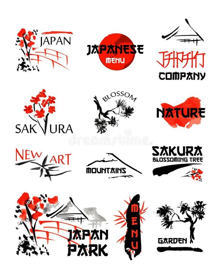 Os moldes do logotipo ajustaram-se com paisagens de Ásia, construções e ramos de florescência de sakura no estilo japonês tradici ilustração royalty free