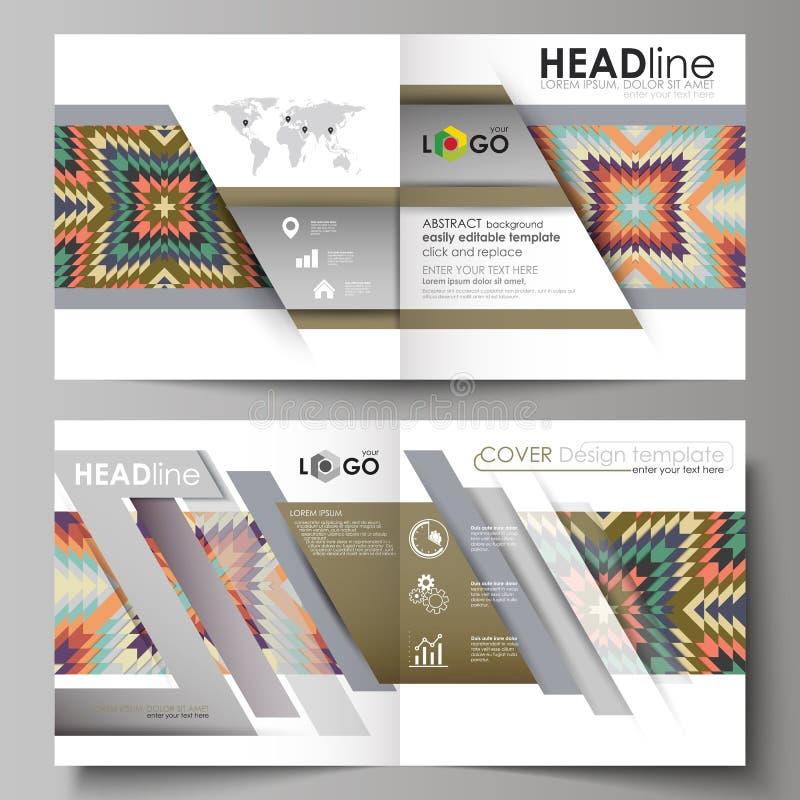 Os moldes do negócio para o bi quadrado do projeto dobram o folheto, compartimento, inseto, brochura Tampa do folheto, disposição ilustração do vetor