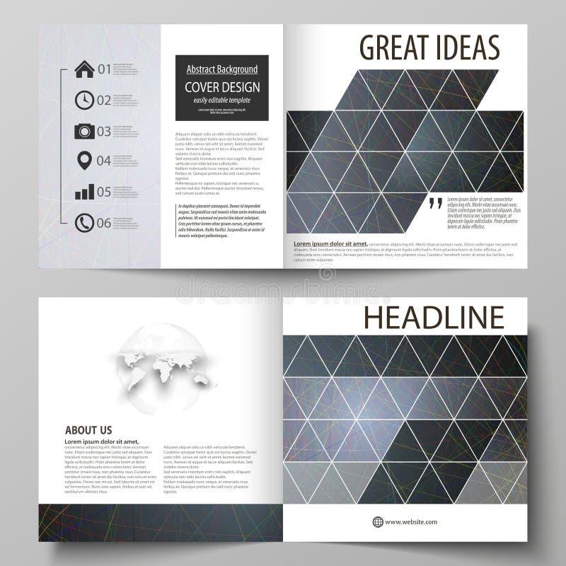 Os moldes do negócio para o bi quadrado do projeto dobram o folheto, inseto, brochura Tampa do folheto Fundo escuro colorido com ilustração stock