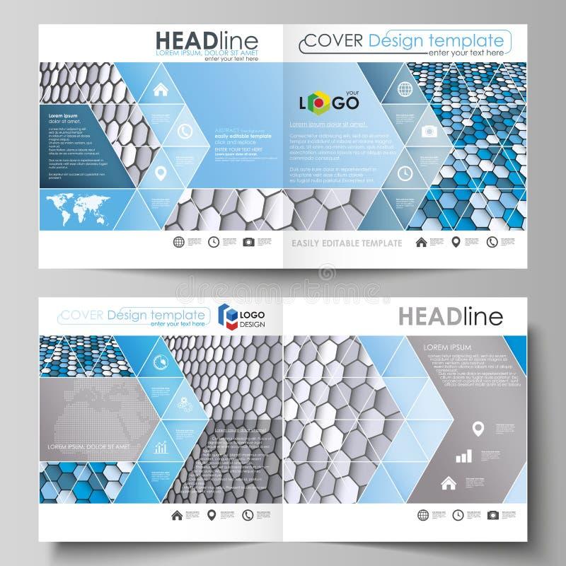 Os moldes do negócio para o bi quadrado do projeto dobram o folheto, o inseto, a brochura ou o informe anual Tampa do folheto, di ilustração do vetor