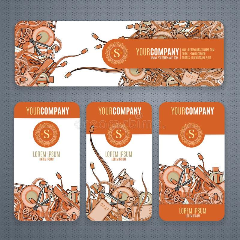 Os moldes do vetor da identidade corporativa ajustaram-no com garatujas tema em cores alaranjadas no fundo branco ilustração do vetor