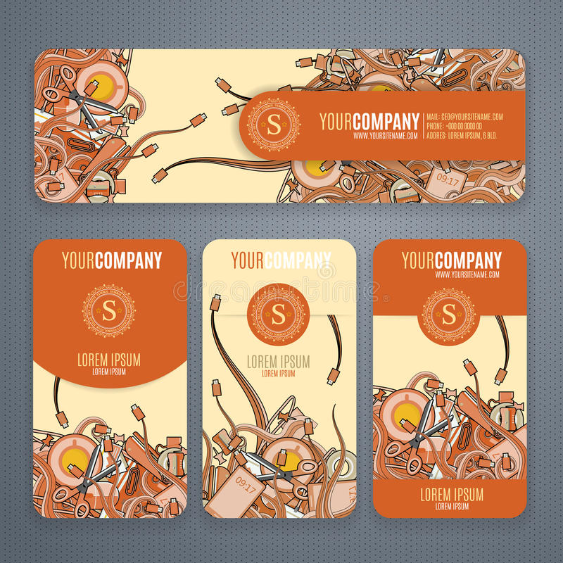 Os moldes do vetor da identidade corporativa ajustaram-no com garatujas tema em cores alaranjadas no fundo claro ilustração do vetor
