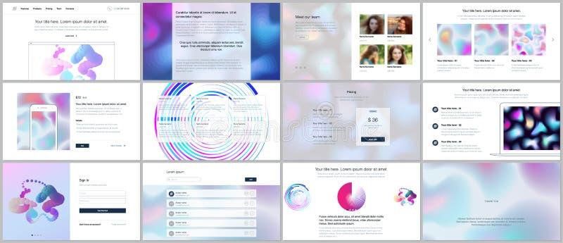 Os moldes do vetor para o Web site projetam, as apresentações mínimas, portfólio com testes padrões geométricos, inclinação, form ilustração royalty free
