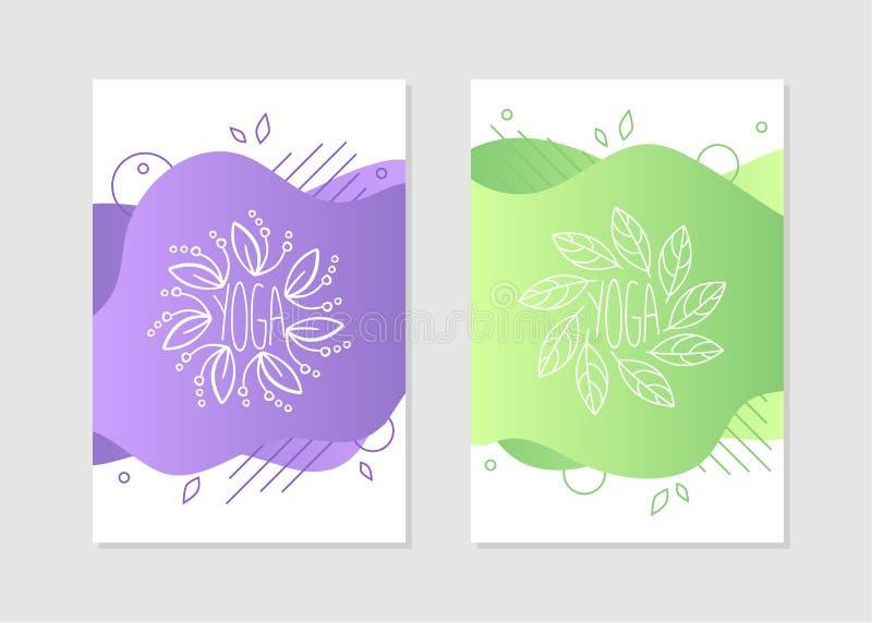 Os moldes grupo do estúdio da ioga, elemento do projeto podem ser usados para o folheto, cartão, convite, ilustração do vetor do  ilustração do vetor