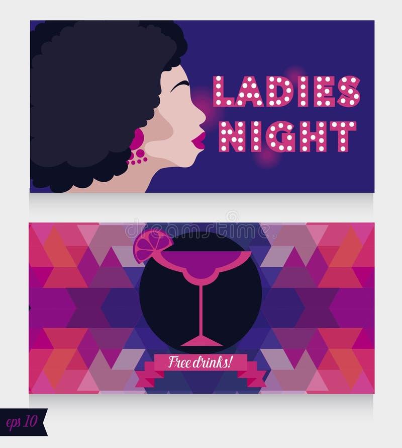 Os moldes para a noite das senhoras party com a senhora e o cocktail do estilo do disco ilustração do vetor