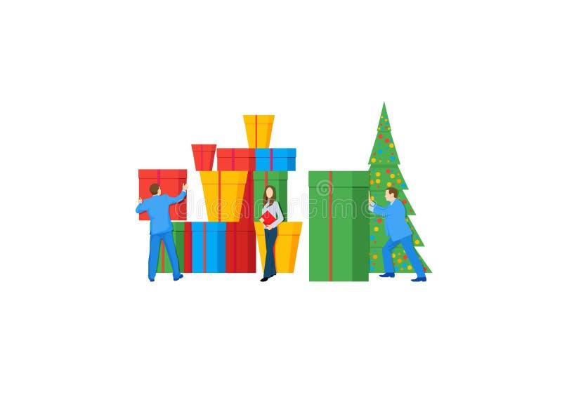 Os moldes para o Feliz Natal projetam para a compra em linha, a analítica, o mercado digital, os trabalhos de equipe e a estratég ilustração do vetor