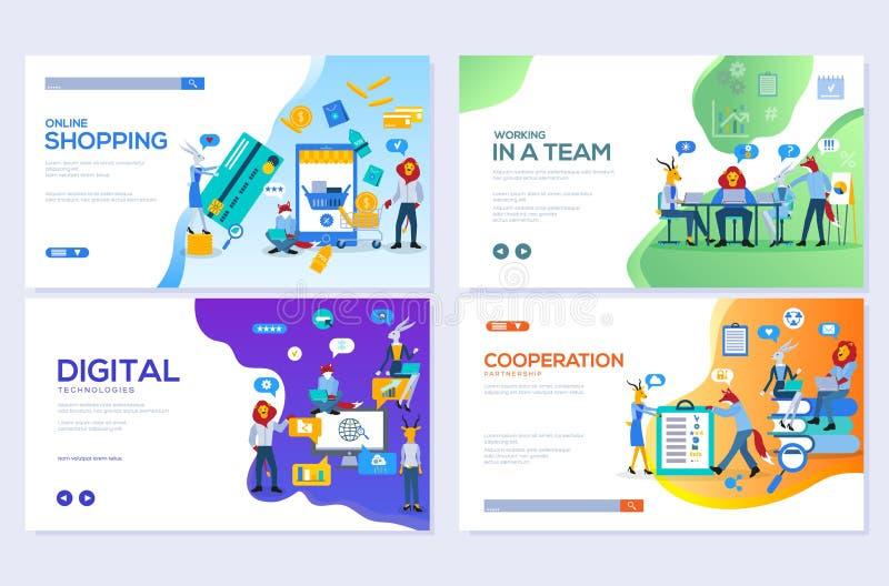 Os moldes projetam para a compra em linha, a analítica, o mercado digital, os trabalhos de equipe e a estratégia empresarial Web  ilustração royalty free