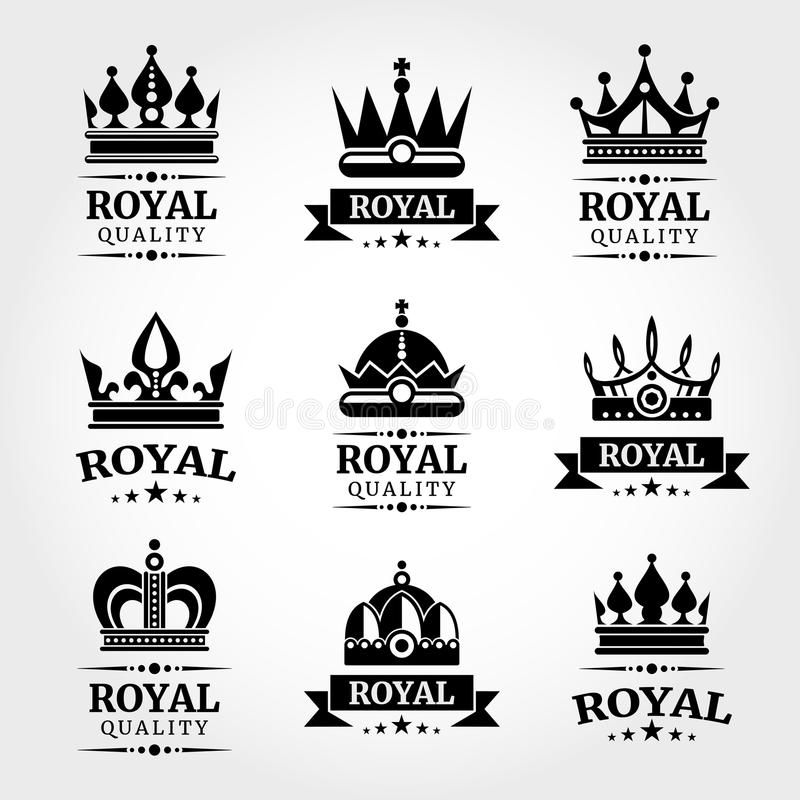 Os moldes reais do logotipo das coroas do vetor da qualidade ajustaram-se no preto ilustração stock