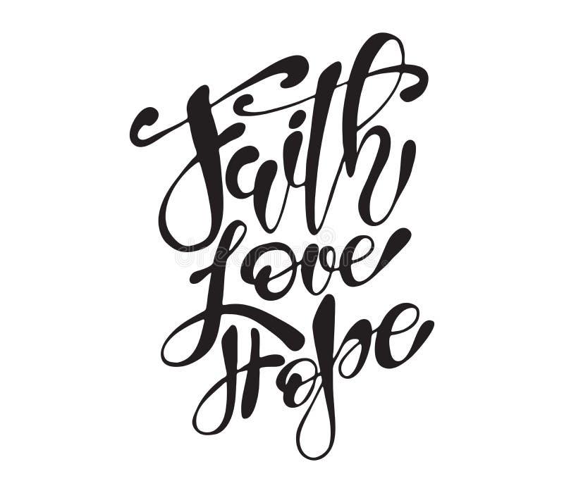 Os moldes tirados mão do cartão das citações da Páscoa com rotulação fraseiam a fé, amor, esperam o estilo moderno da caligrafia ilustração royalty free
