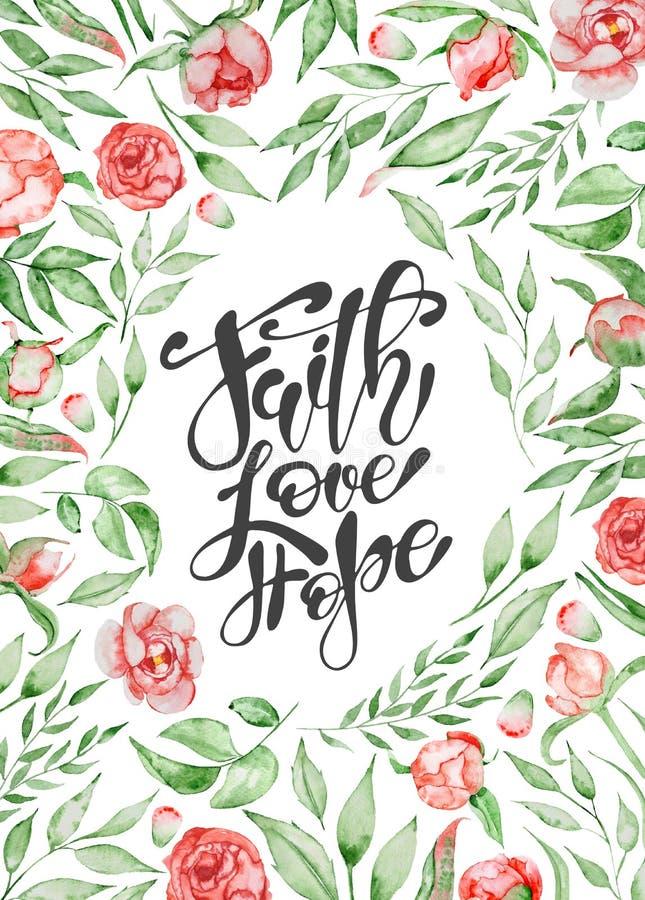 Os moldes tirados mão do cartão das citações da Páscoa com rotulação fraseiam a fé, amor, esperam o estilo moderno da caligrafia ilustração do vetor