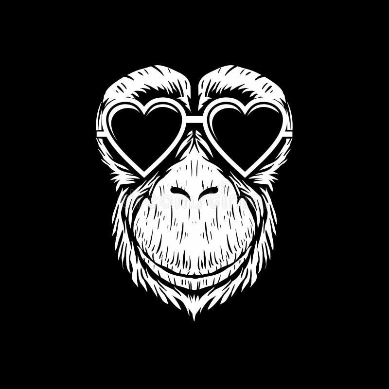 Os monóculos do chimpanzé projetam a ilustração do vetor ilustração stock