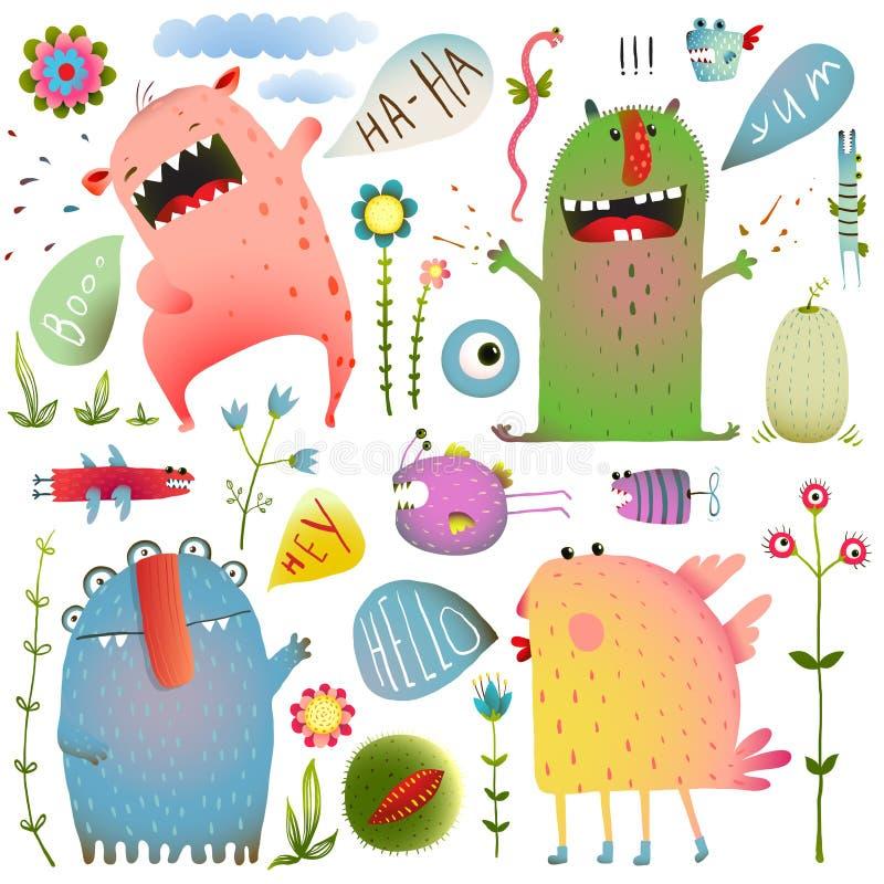 Os monstro bonitos do divertimento para crianças projetam colorido ilustração do vetor