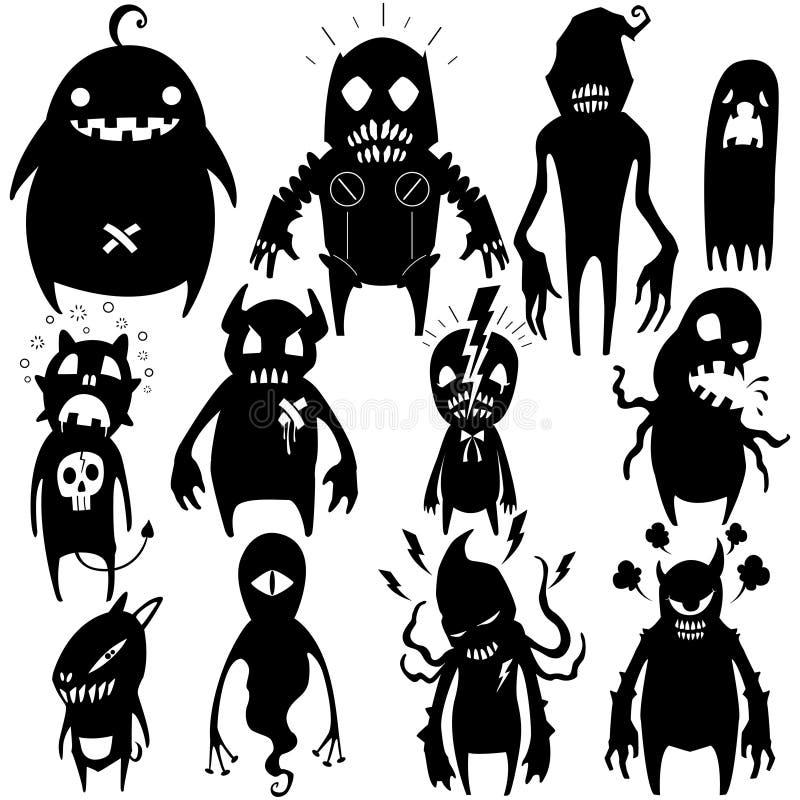 Os monstro pequenos ajustaram 02 ilustração do vetor