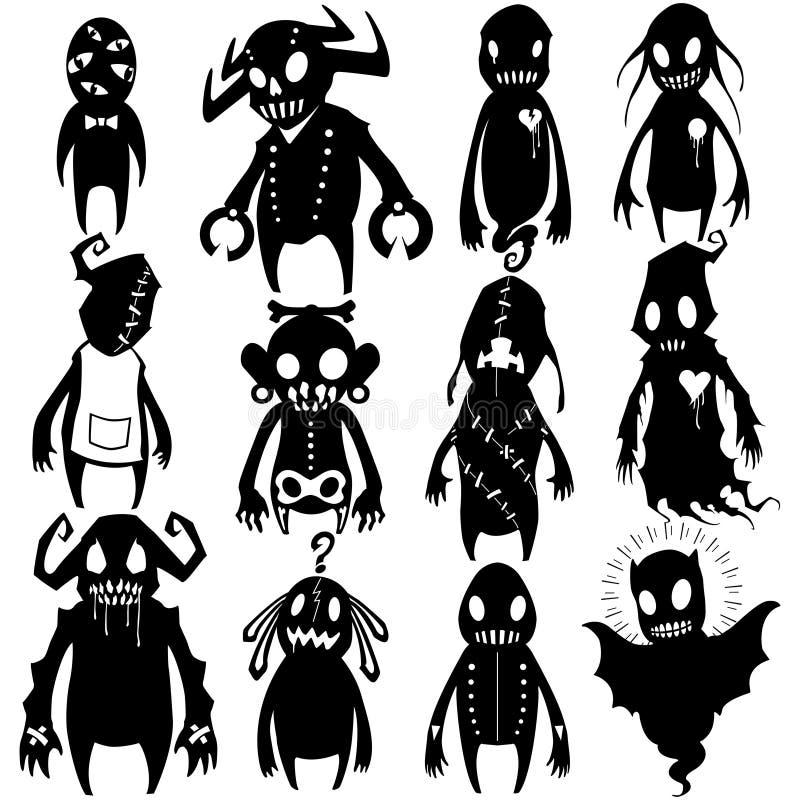 Os monstro pequenos ajustaram 03 ilustração do vetor
