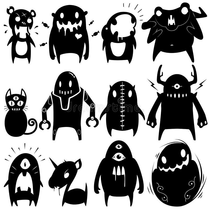 Os monstro pequenos ajustaram 06 ilustração do vetor