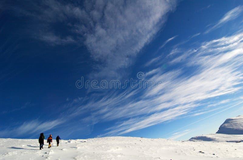 Os montanhistas aproximam a cimeira. imagem de stock