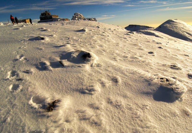 Os montanhistas da montanha aproximam a cimeira.   imagens de stock royalty free