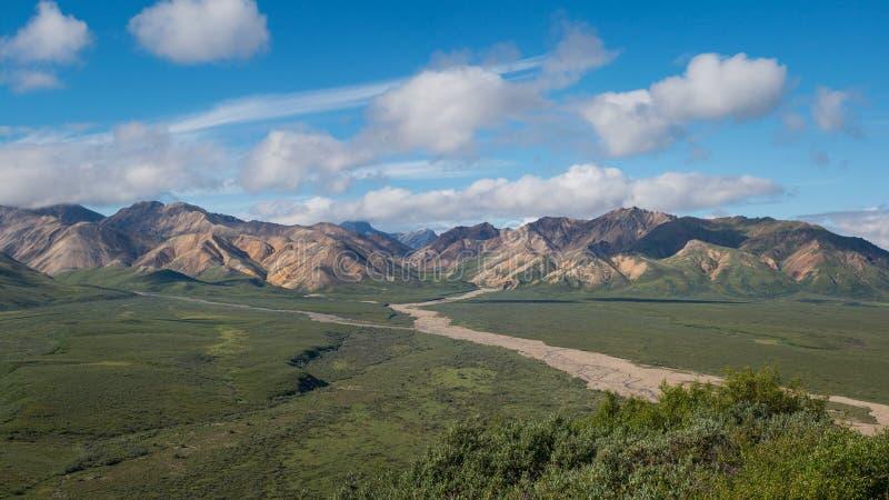 Os montes rochosos negligenciam no parque nacional de Denali imagem de stock