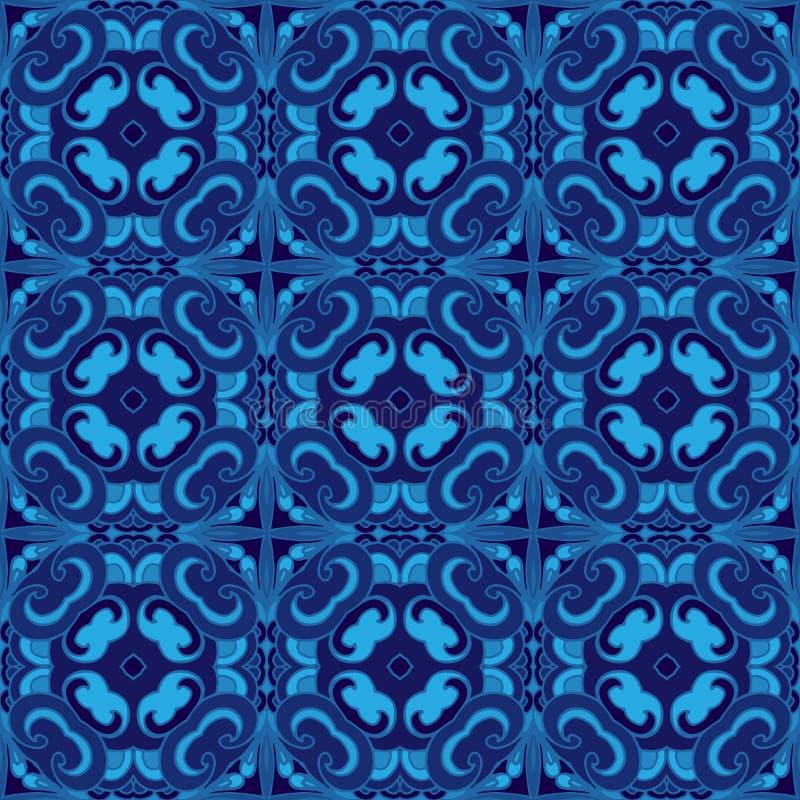 Os mosaicos telharam o teste padrão sem emenda do vetor azul ilustração royalty free