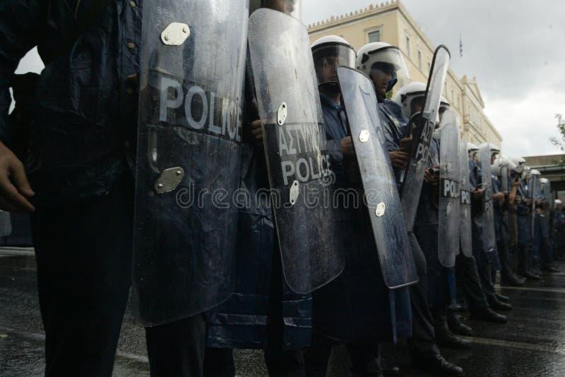 Os motins de Atenas, estudantes reagrupam, 2006 imagem de stock royalty free