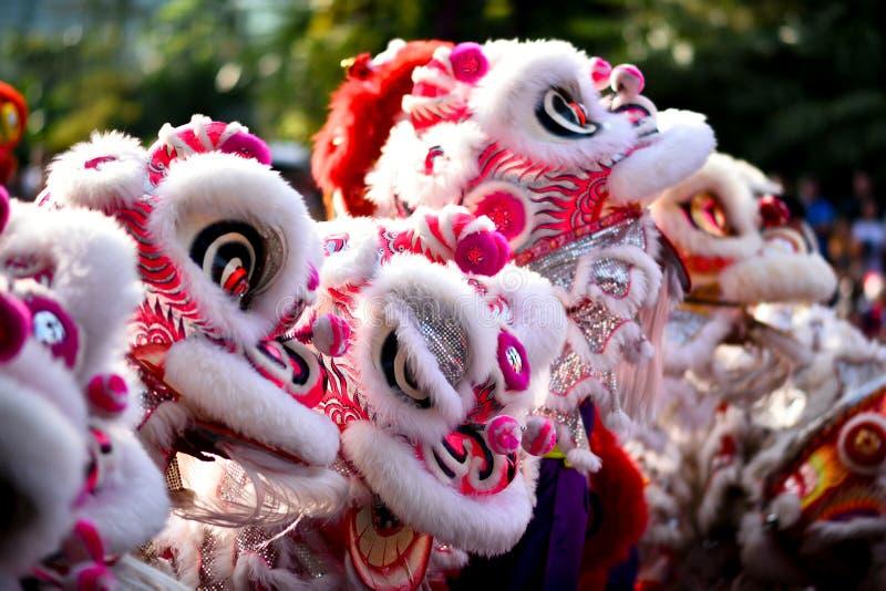 Os movimentos fundamentais chineses da dança de leão podem ser encontrados em artes marciais chinesas imagens de stock royalty free