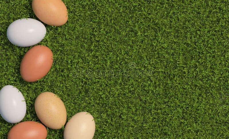 Os multi ovos coloridos da galinha são dispersados no fundo da grama verde Copie o espaço Vista superior 3d rendem ilustração royalty free
